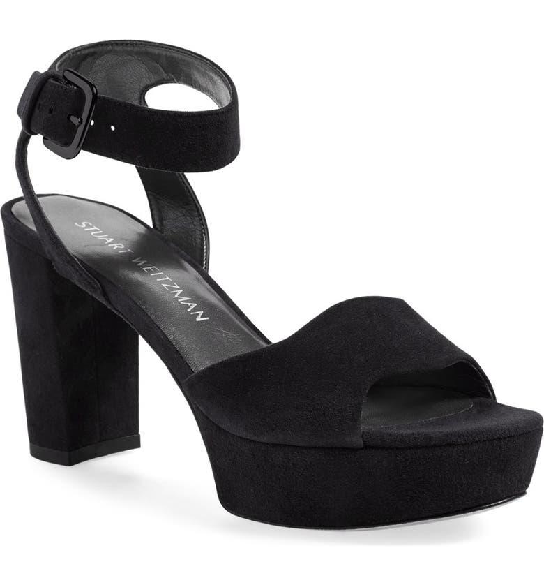 STUART WEITZMAN 'Real Deal' Platform Sandal, Main, color, 002