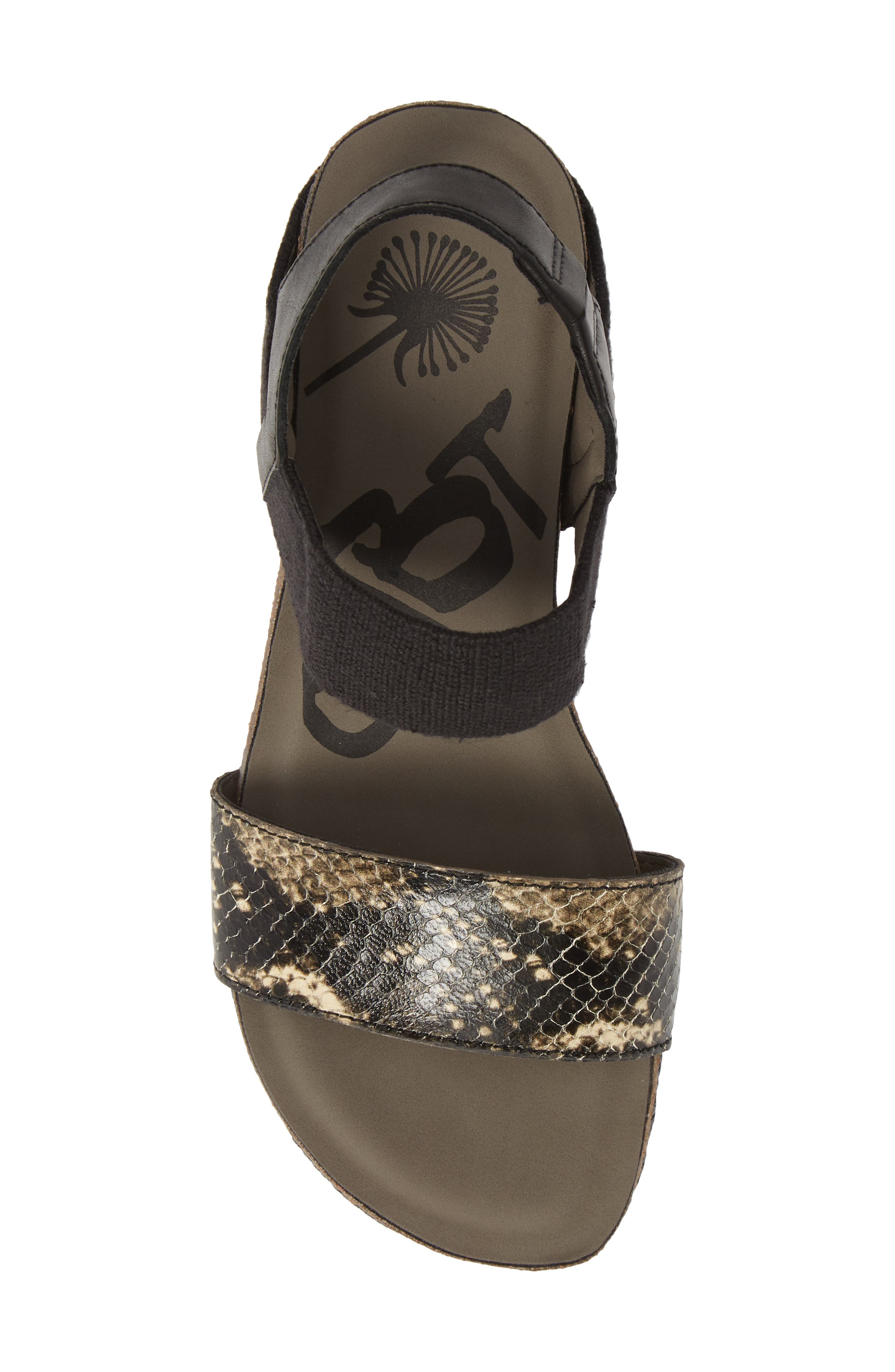 ,                             'Bushnell' Wedge Sandal,                             Alternate thumbnail 5, color,                             BLACK/ BLACK LEATHER