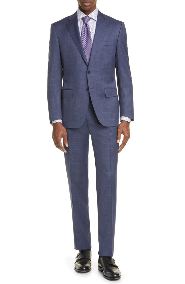 CANALI Siena Soft Classic Fit Plaid Wool Suit, Main, color, BLUE