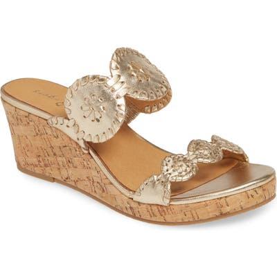 Jack Rogers Lauren Wedge Slide Sandal, Metallic