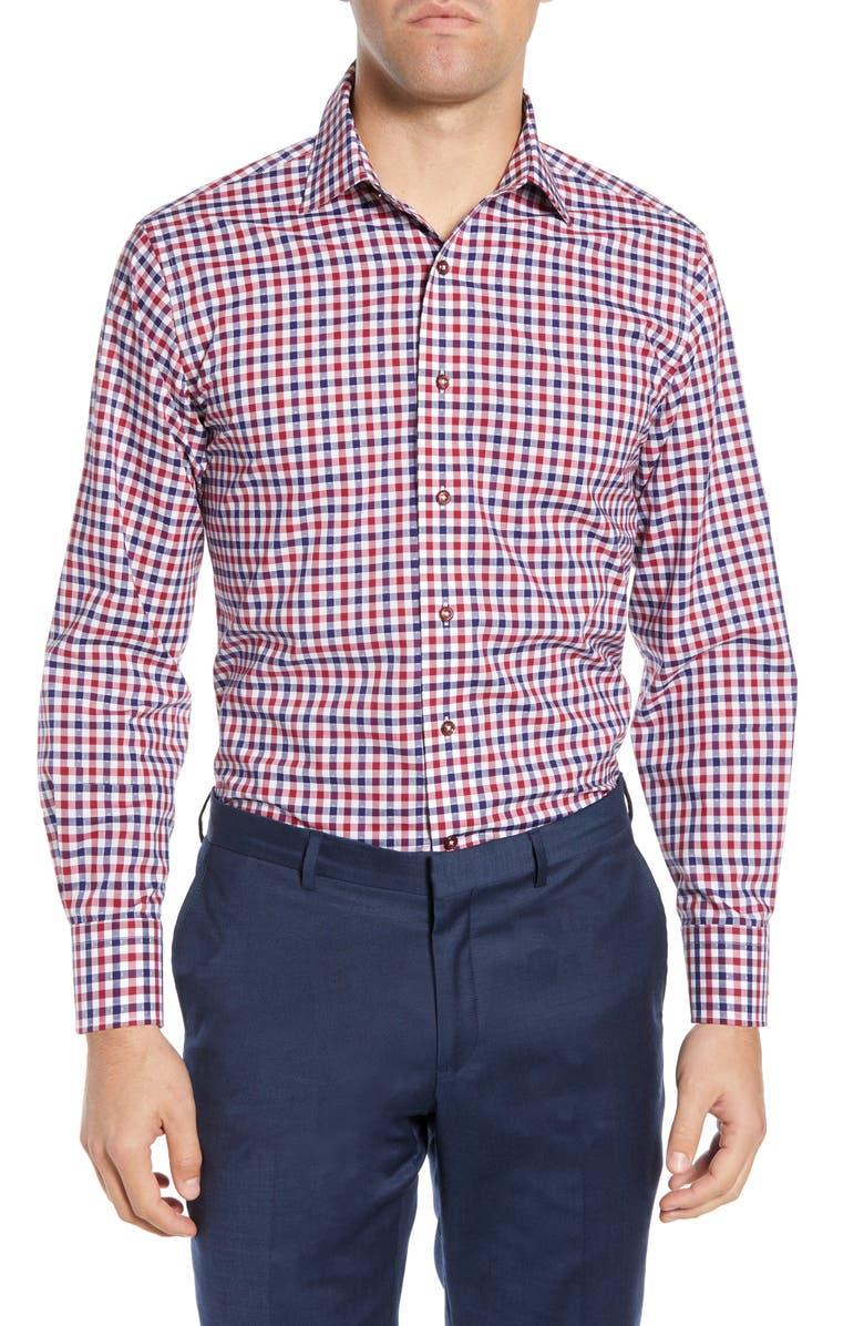 LORENZO UOMO Trim Fit Gingham Dress Shirt, Main, color, RED/ NAVY