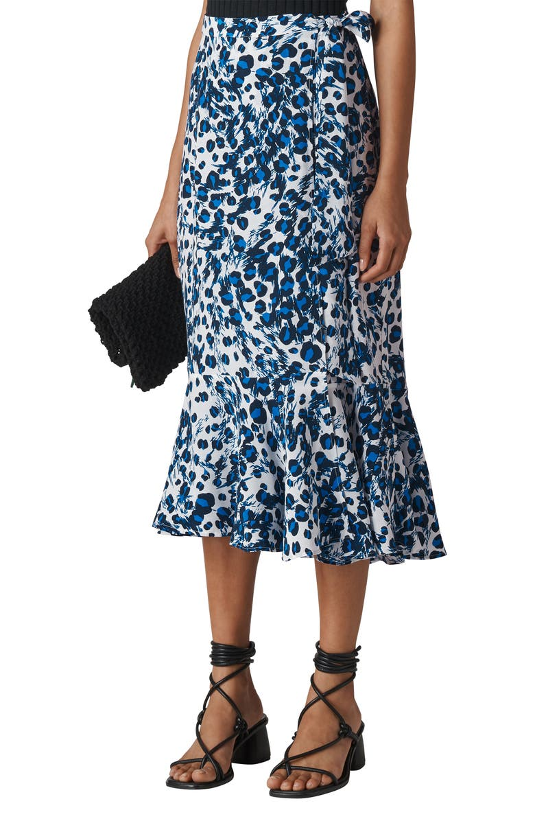 Brushed Leopard Print Wrap Midi Skirt by Whistles