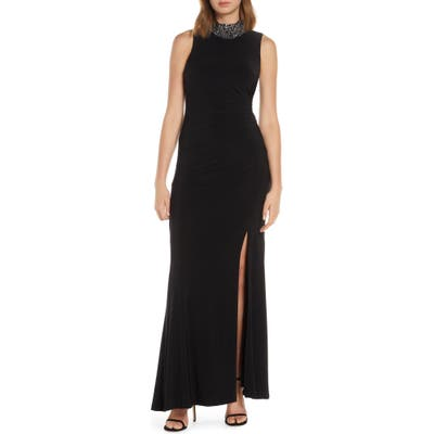 Vince Camuto Embellished High Neck Jersey Gown, Black