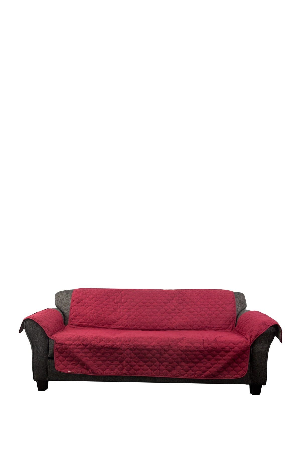 Image of Duck River Textile Garnet/Natural Reynold Reversible Water Resistant Microfiber Sofa Cover