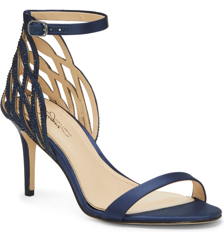 IMAGINE BY VINCE CAMUTO Imagine Vince Camuto Pharra Crystal Ankle Strap Sandal, Main, color, INKWELL BLUE FABRIC