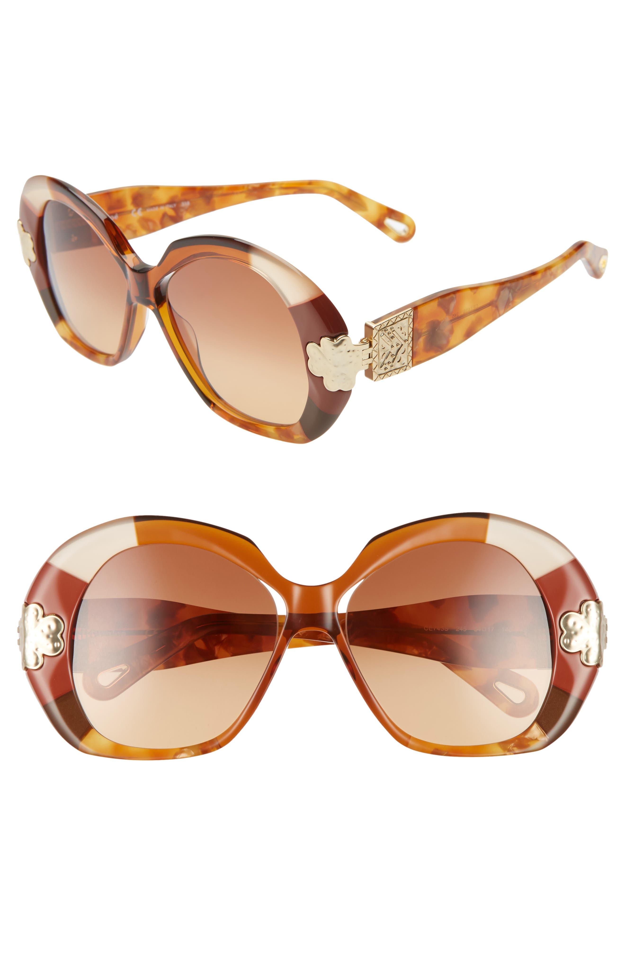 Chloe 5m Oval Sunglasses - Gold Patchwork