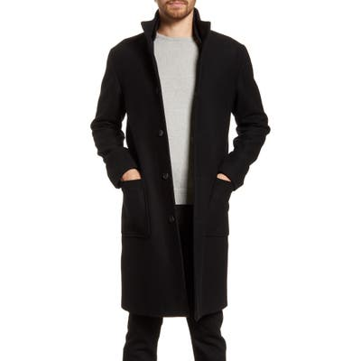 Frame Ribbed Collar Wool Blend Topcoat, Blue