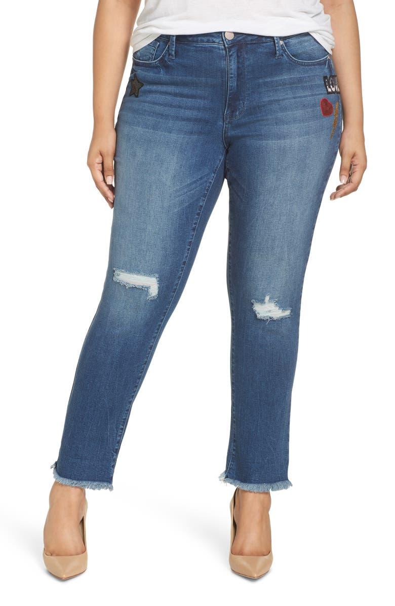 SEVEN7 Slim Straight Raw Hem Jeans, Main, color, REEVES