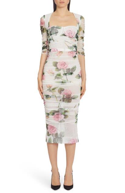 Dolce & Gabbana Dresses ROSE PRINT RUCHED TULLE MIDI DRESS