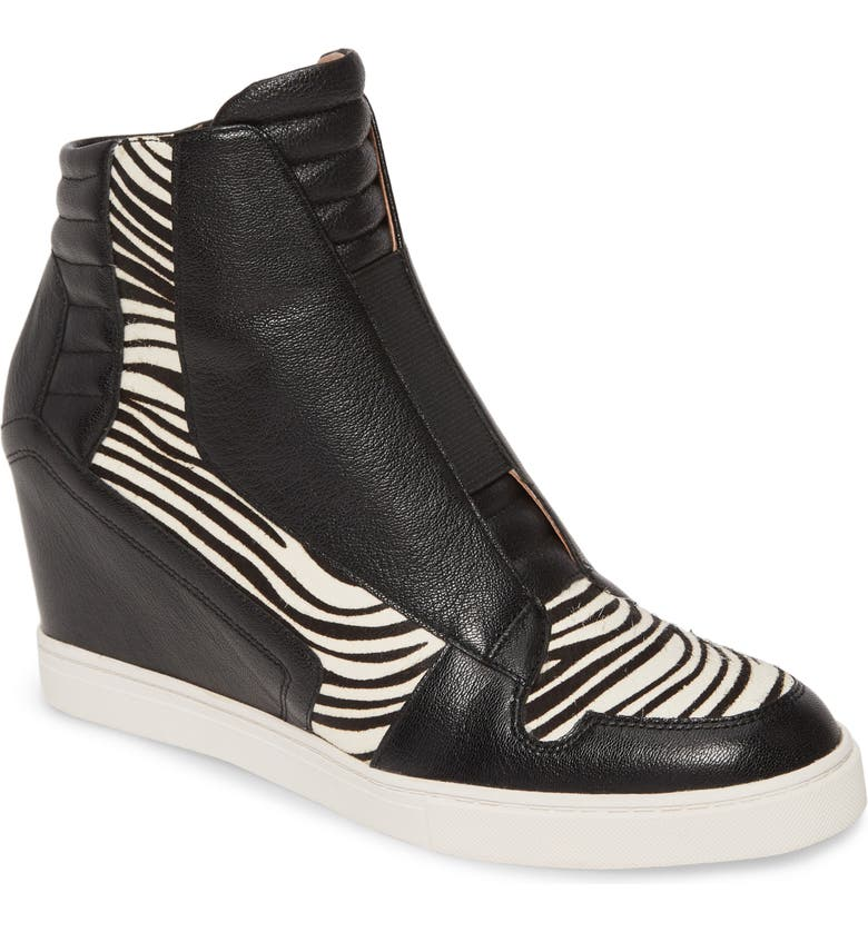 LINEA PAOLO Filipa II Wedge Sneaker Bootie, Main, color, BLACK/BLACK WHITE CALF HAIR