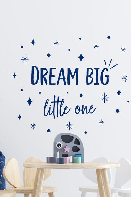 Image of WalPlus Dream Big Little One Quote Wall Decor - Blue