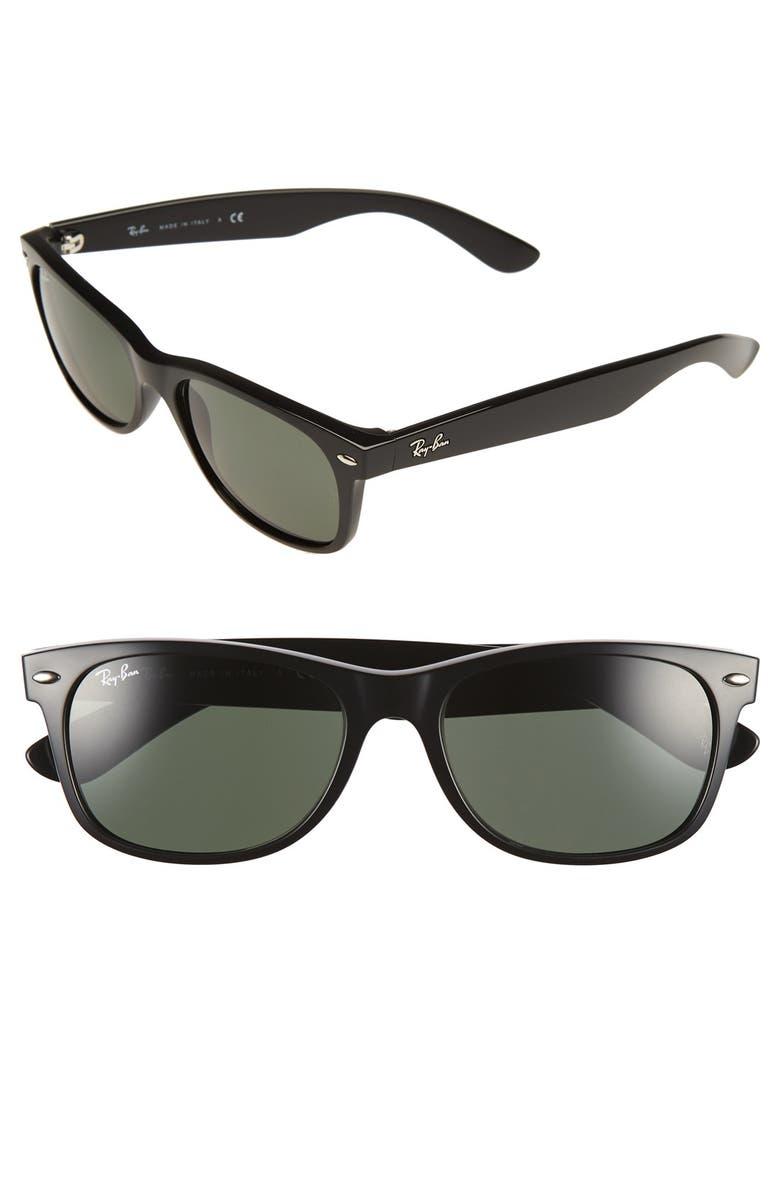 RAY-BAN 'New Wayfarer' 55mm Sunglasses, Main, color, BLACK/ GREEN
