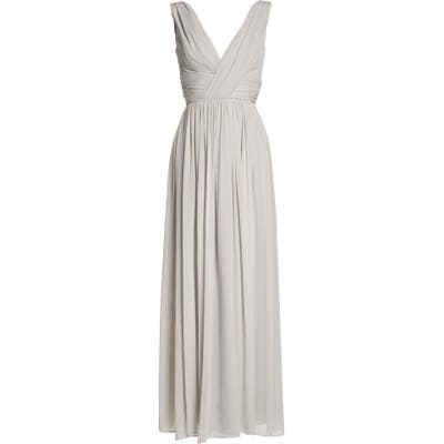 Dessy Collection Lux V-Neck Chiffon Gown, Ivory