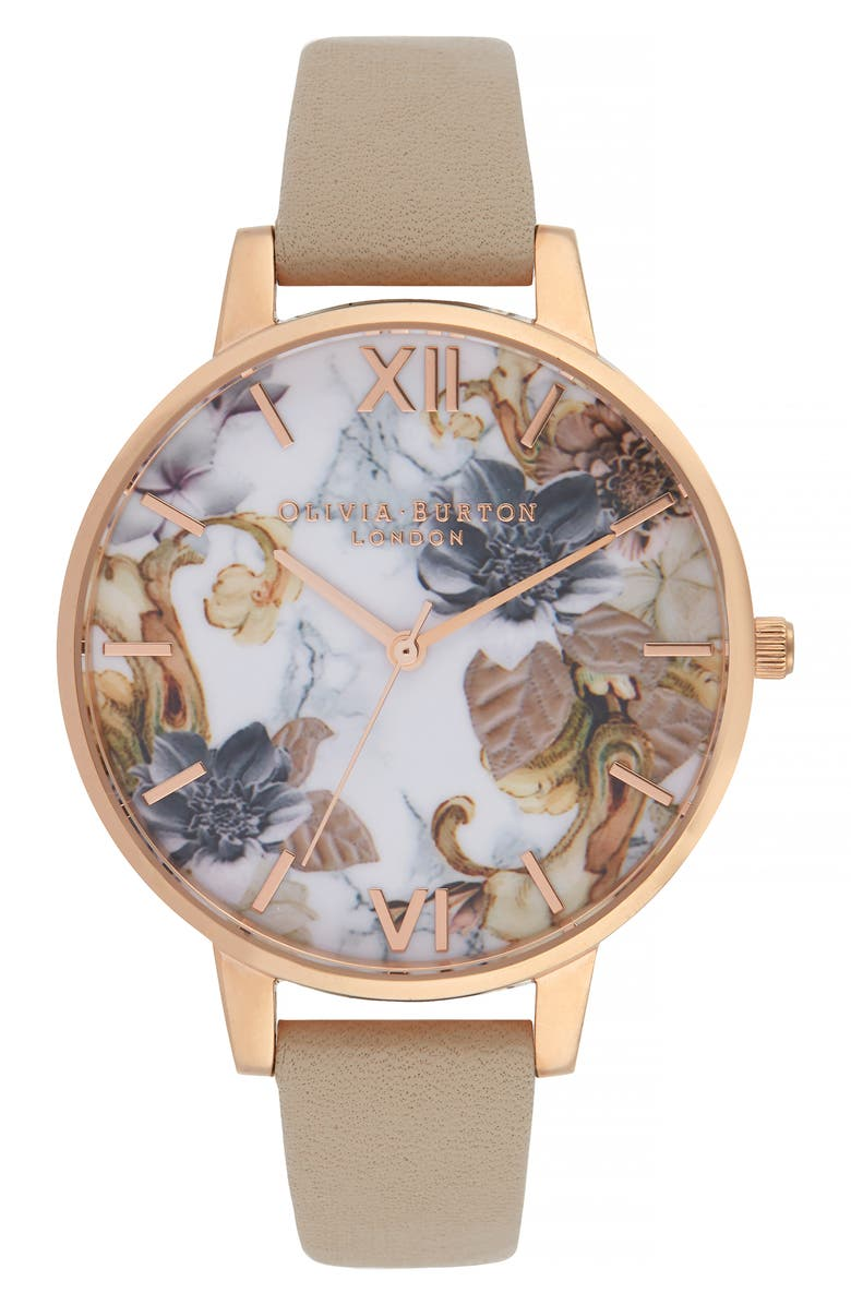 OLIVIA BURTON Marble Floral Leather Strap Watch, 38mm, Main, color, 250