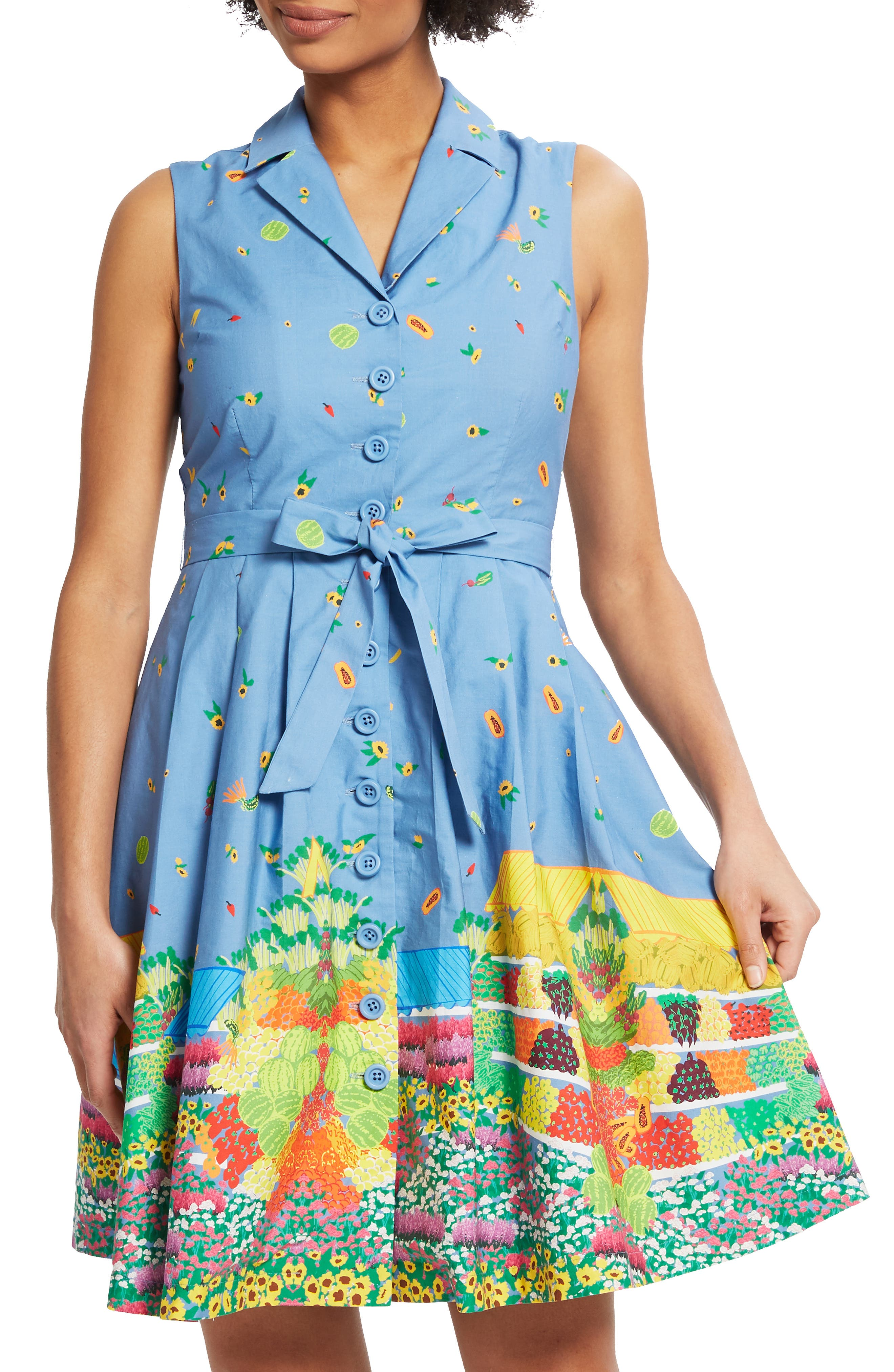 ,                             Community Brunch Sleeveless Cotton Shirtdress,                             Alternate thumbnail 7, color,                             420