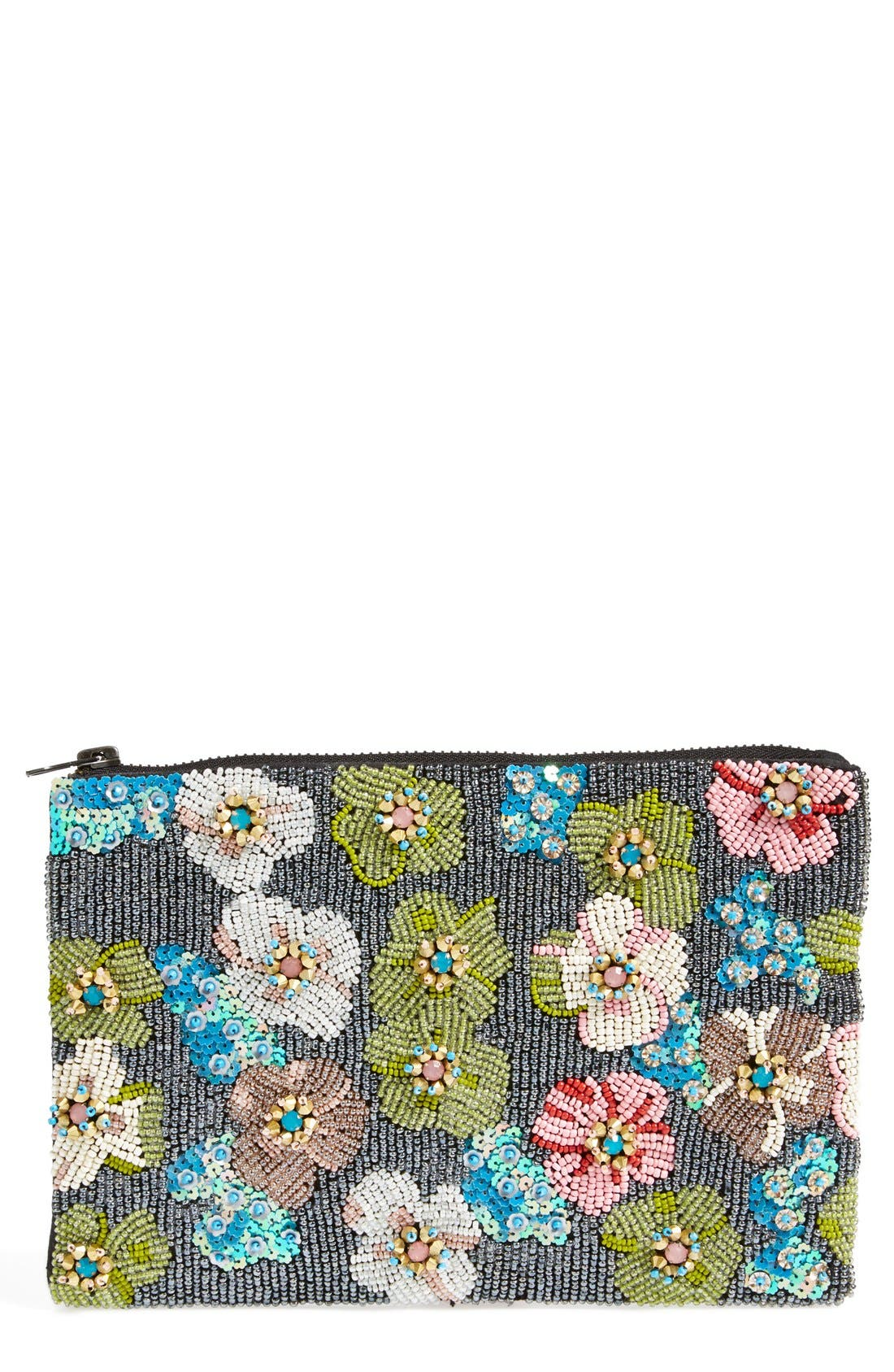 Natasha Couture Beaded Floral Clutch, Main, color, 650