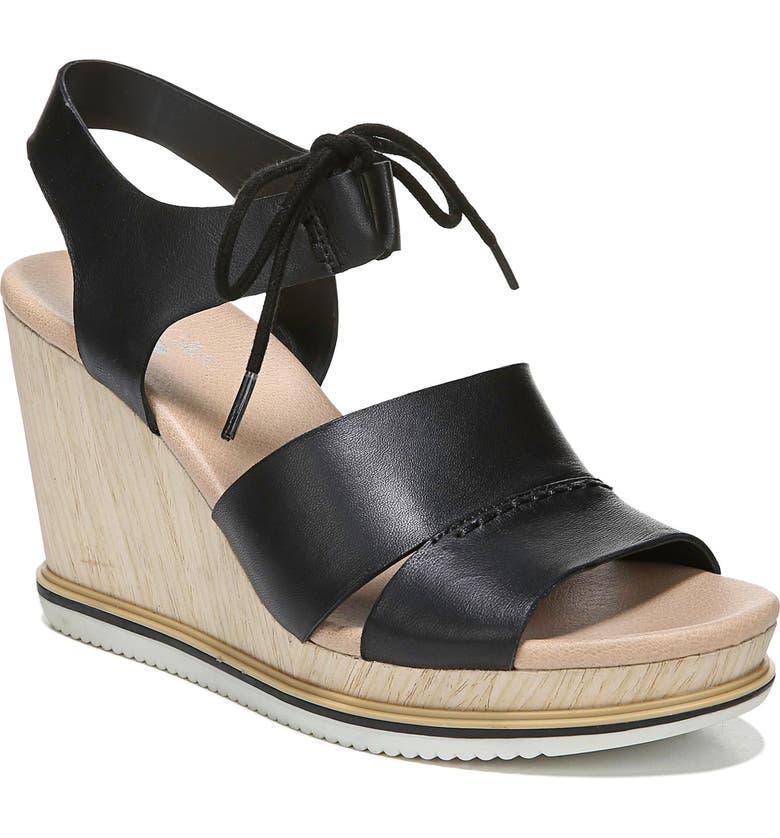 DR. SCHOLL'S Dr. Scholls Summertime Wedge Sandal, Main, color, BLACK LEATHER