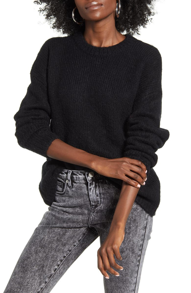 COTTON EMPORIUM Easy Rib Trim Sweater, Main, color, BLACK