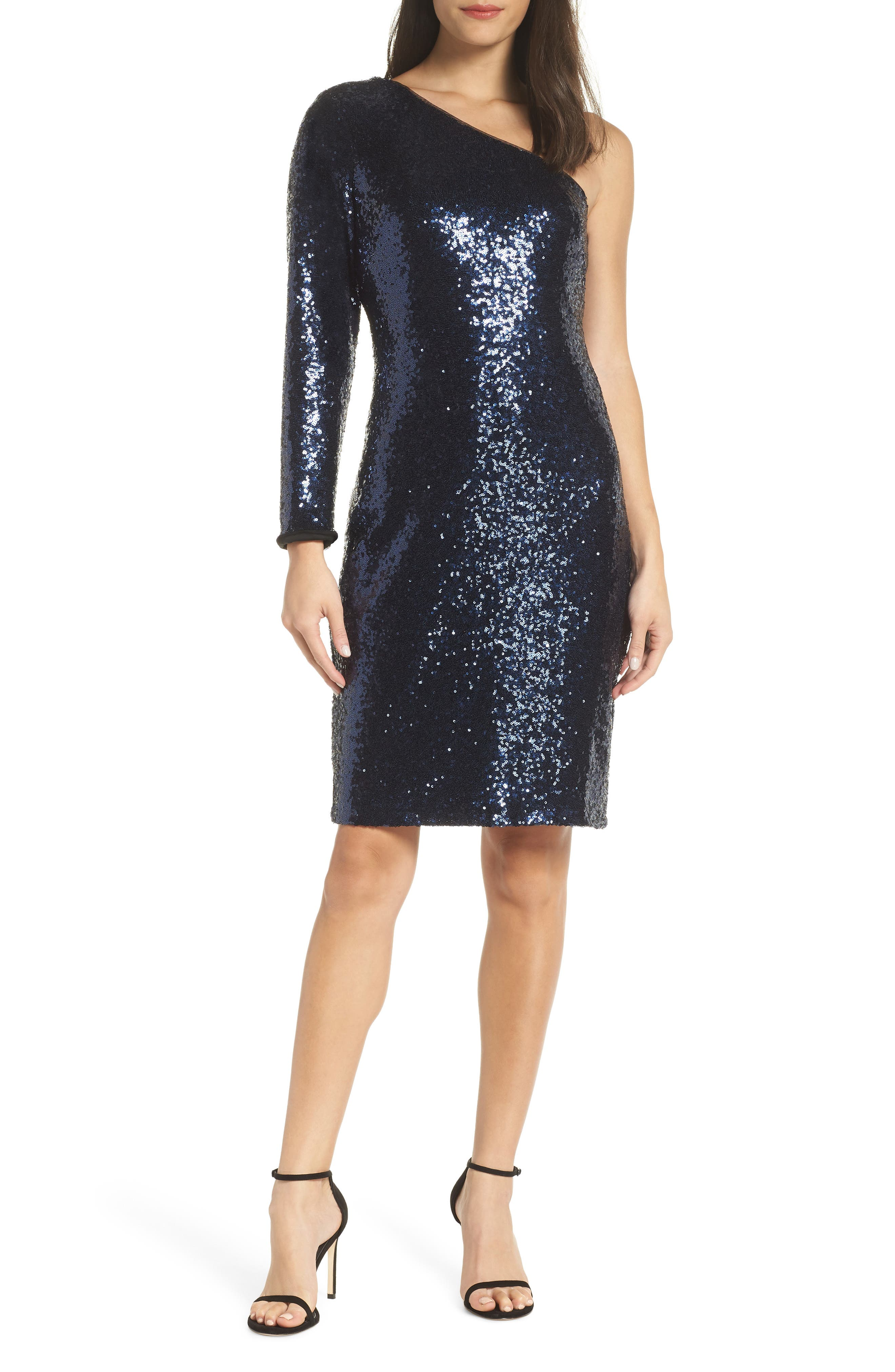 Morgan & Co. One-Shoulder Dress, Blue