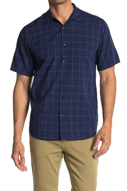 Image of BLDWN Raymoore Short Sleeve Windowpane Print Slim Fit Shirt