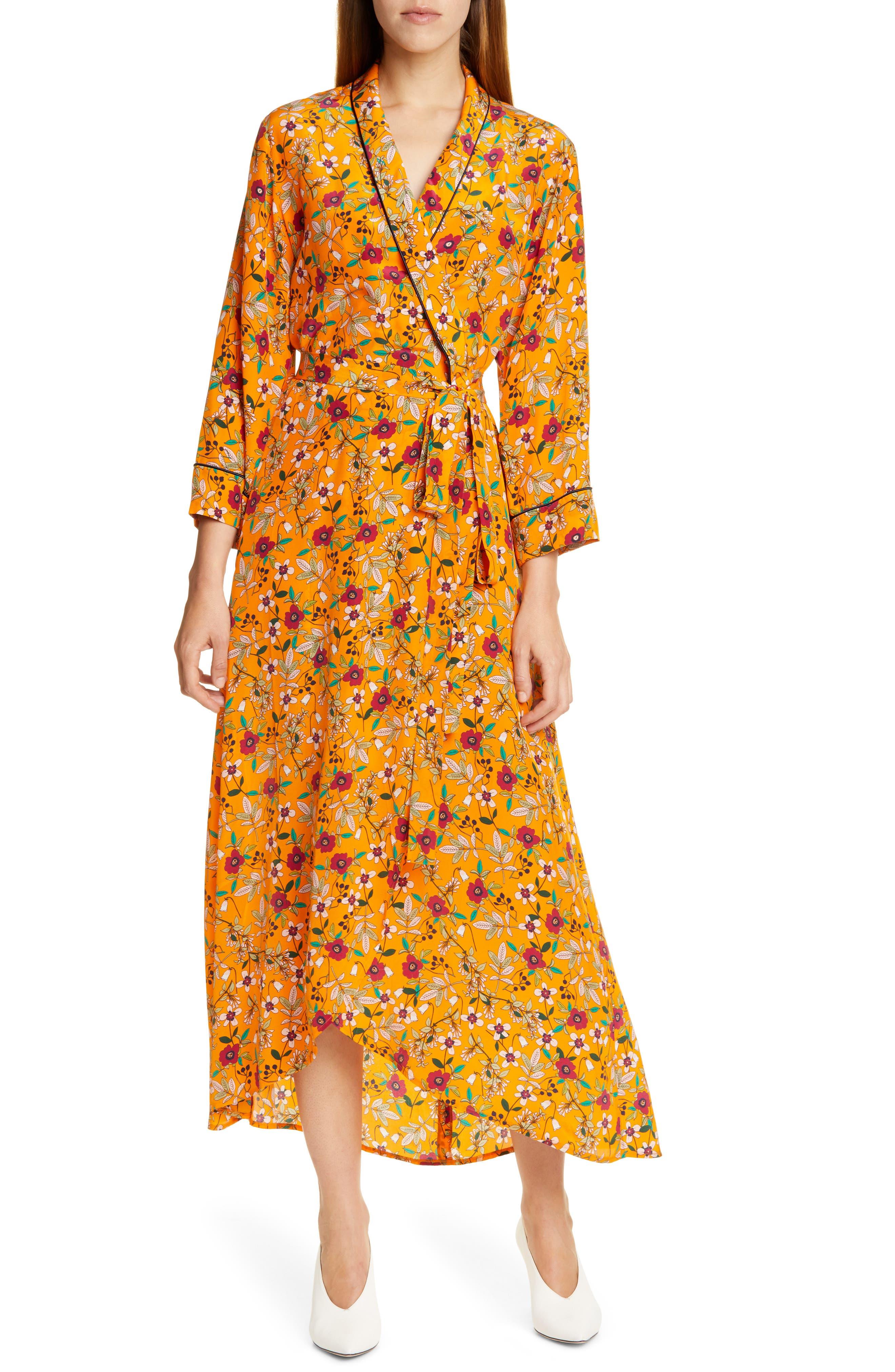 Hugo Kerlina Floral Wrap Maxi Dress, Orange