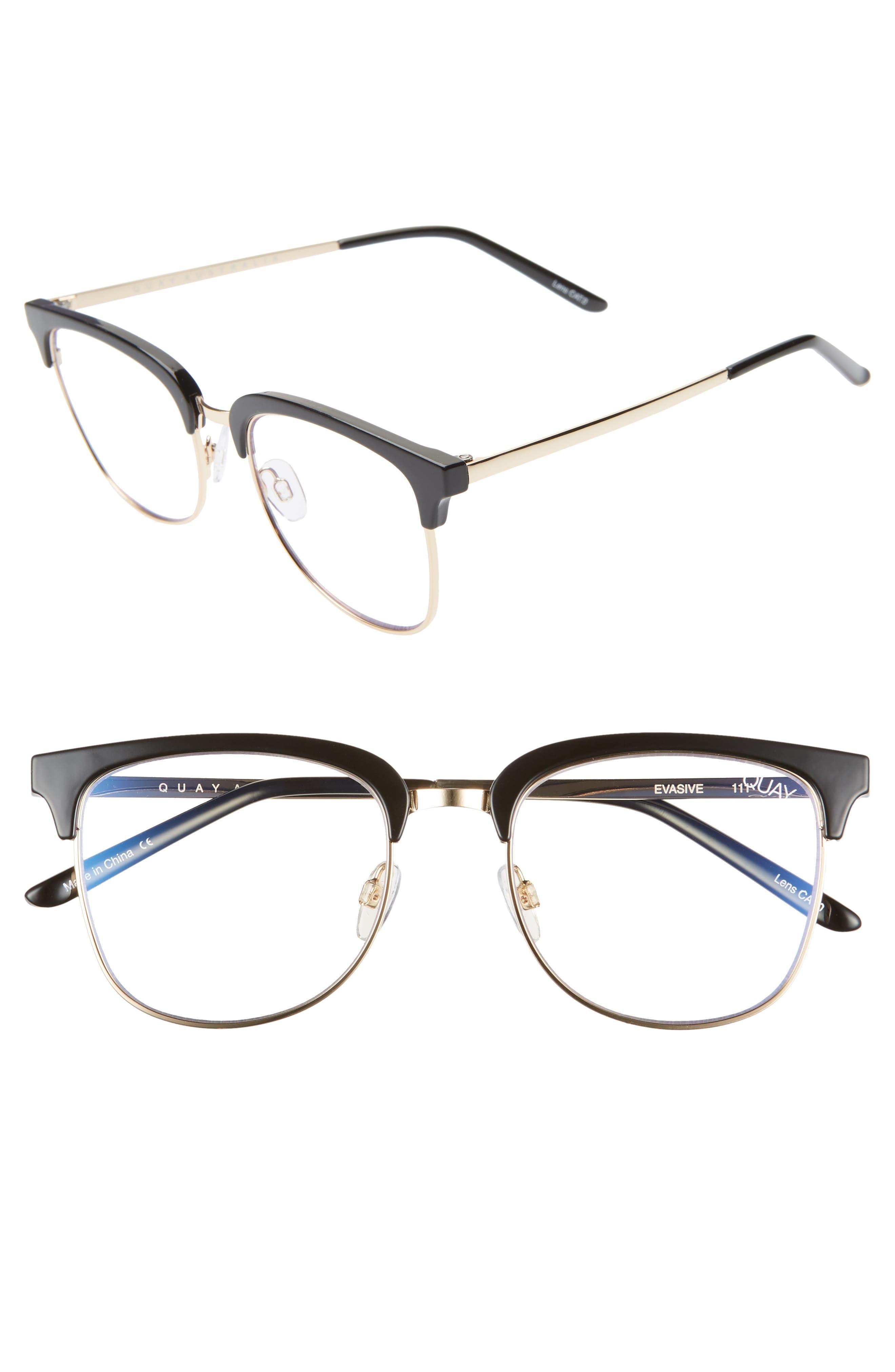1940s Sunglasses, Glasses & Eyeglasses History Womens Quay Australia Evasive 52Mm Blue Light Blocking Glasses - $60.00 AT vintagedancer.com