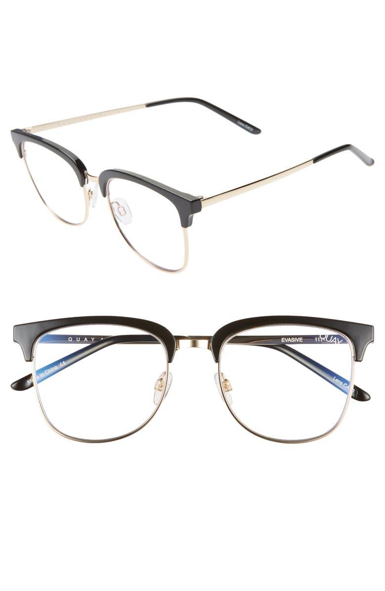 QUAY AUSTRALIA Evasive 52mm Blue Light Blocking Glasses, Main, color, 001