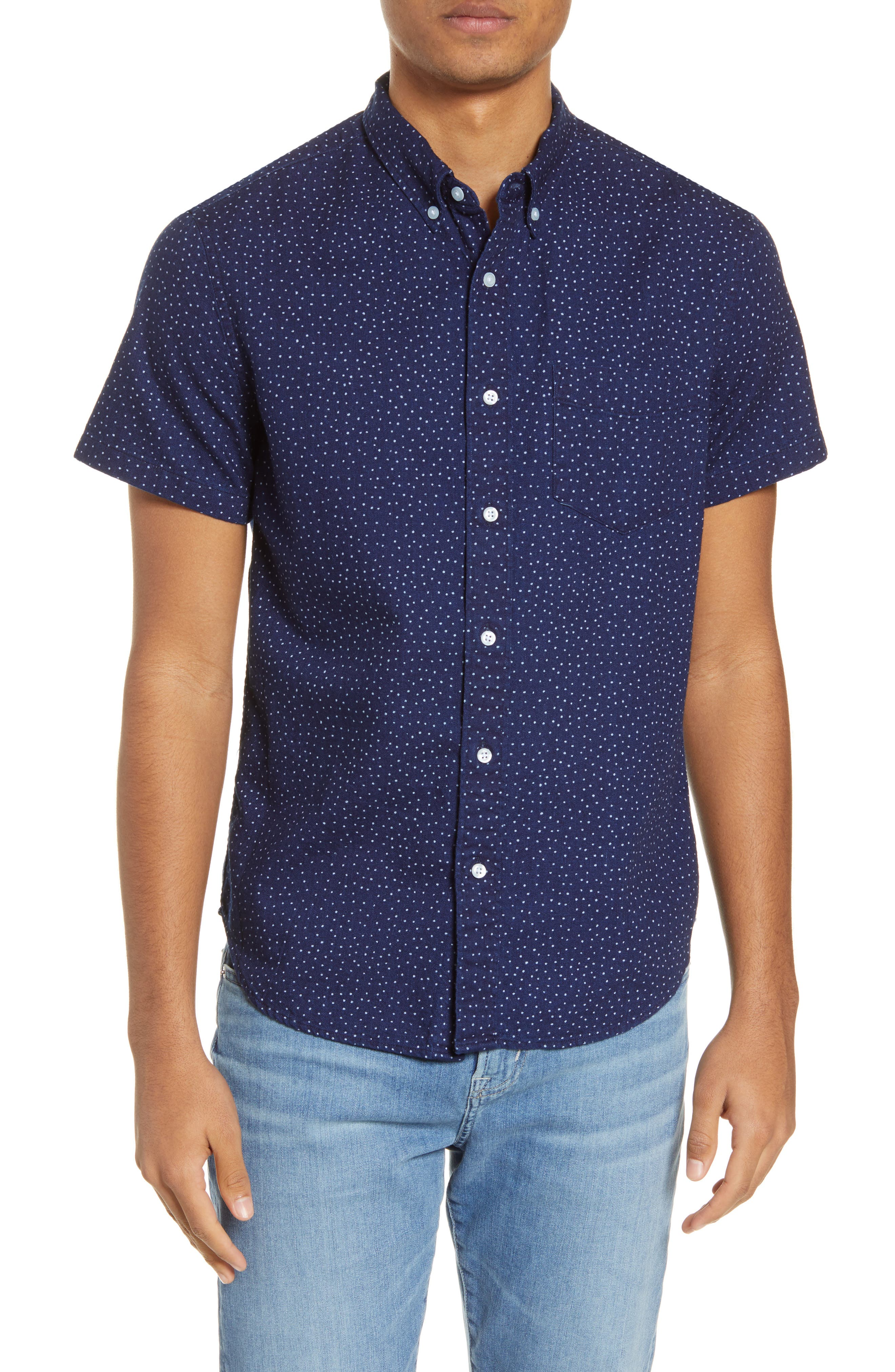 Made to be worn untucked, this short-sleeve shirt looks cooler-and feels even softer-the more you wear it. Plus, it has a button-down collar for a pulled-together look. Style Name: Madewell Indigo Dots Short Sleeve Button-Down Shirt. Style Number: 6046983. Available in stores.