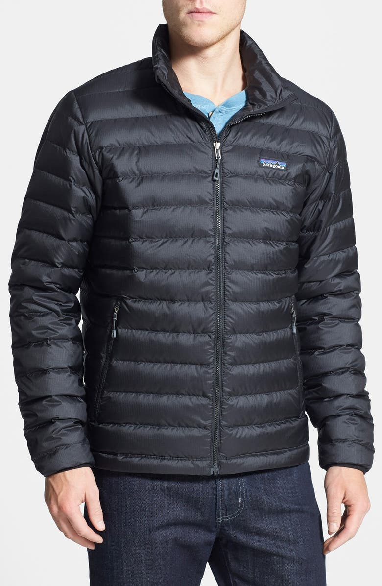 PATAGONIA Water Repellent Down Jacket, Main, color, BLACK/ BLACK