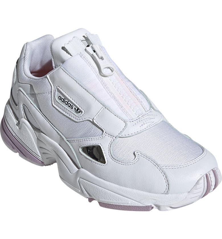 ADIDAS Falcon Zip Sneaker, Main, color, WHITE/ ORANGE/ SOFT VISION