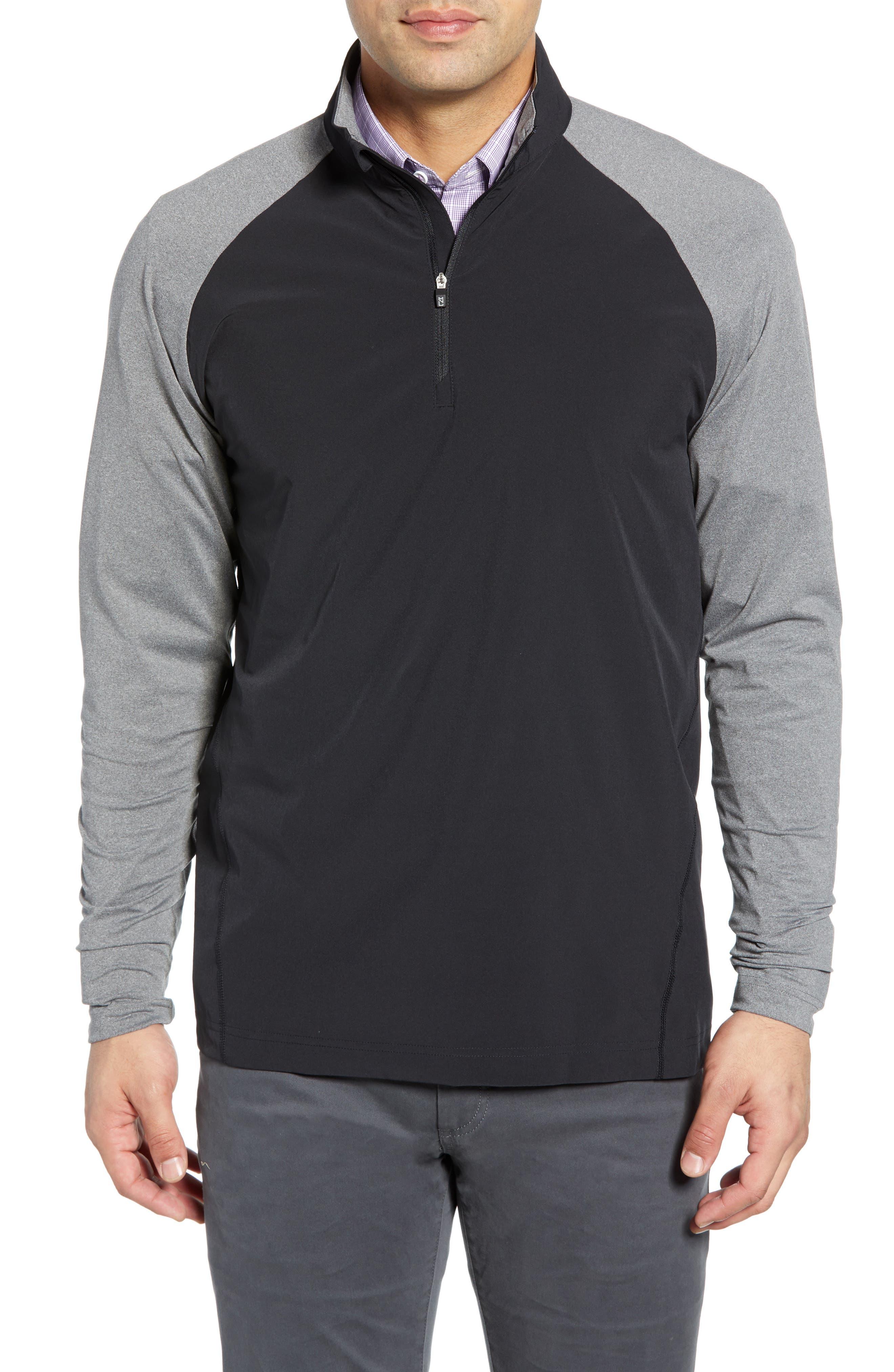 ,                             Response Hybrid Overknit Quarter Zip Pullover,                             Main thumbnail 1, color,                             BLACK