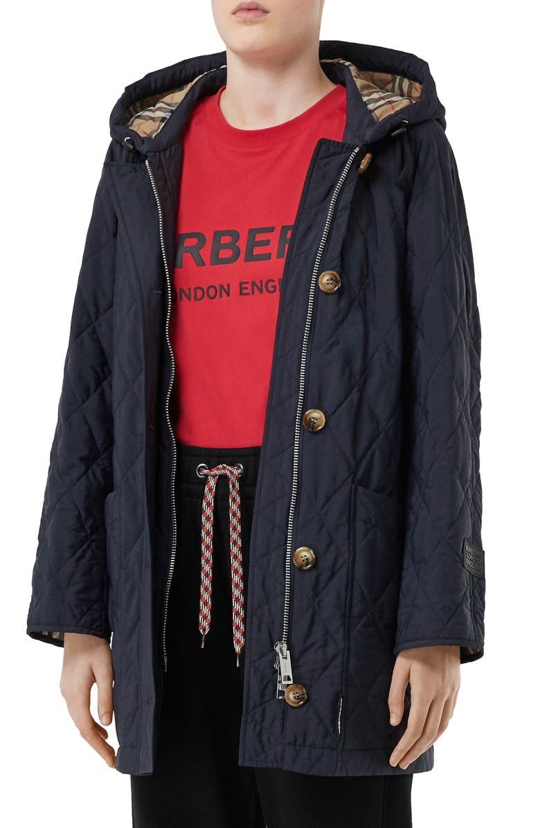 BURBERRY Roxwell Vintage Check Hood Thermoregulated Quilted Coat, Main, color, NAVY