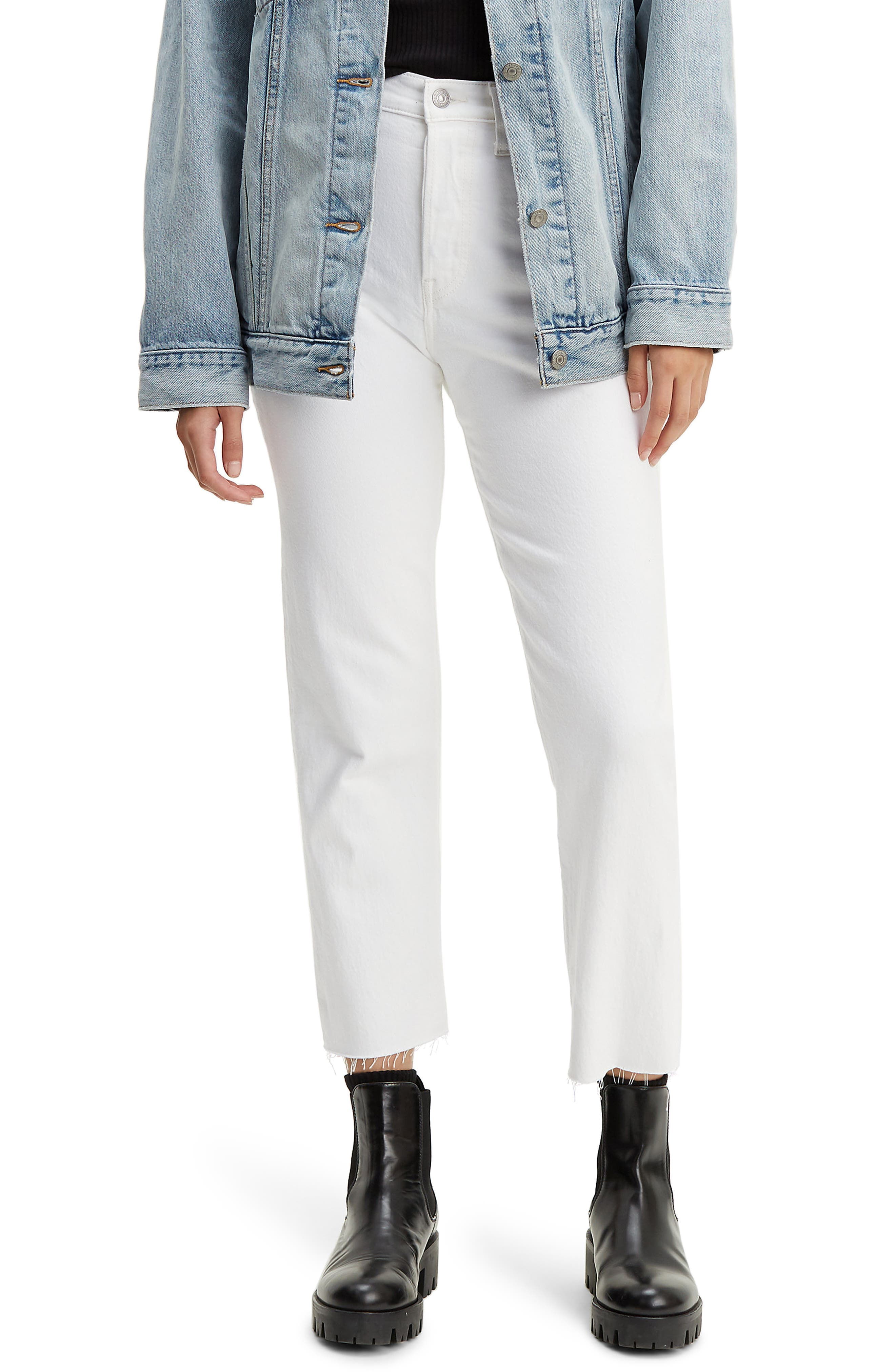 Levi's® Wedgie High Waist Frayed Crop Straight Leg Jeans (In the Clouds)