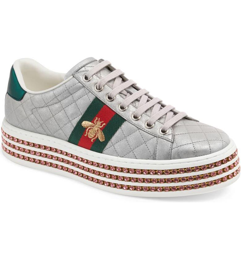 GUCCI New Ace Platform Sneaker, Main, color, ARGENTO LEATHER