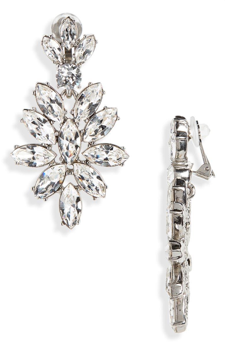OSCAR DE LA RENTA Navette Crystal Earrings, Main, color, CRYSTAL/ SILVER