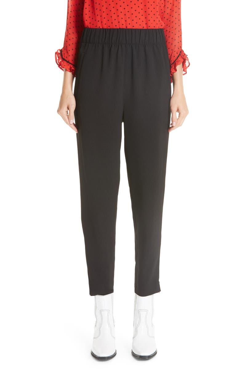 GANNI Crepe Pants, Main, color, BLACK 099