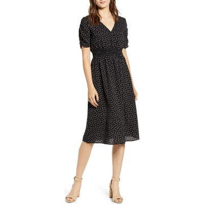 Good Luck Gem Floral Ruched Sleeve Dress, Black