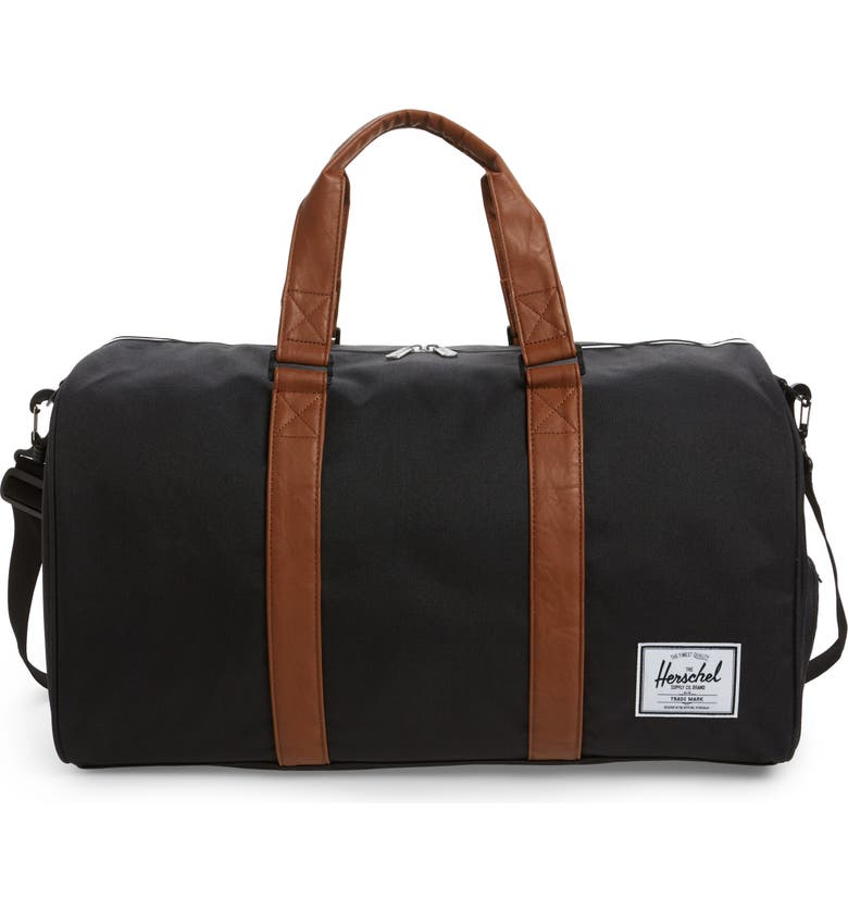 HERSCHEL SUPPLY CO. 'Novel' Duffel Bag, Main, color, BLACK/ TAN
