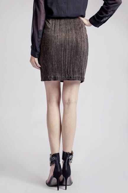 Image of Moon River Metallic Pleated Tie Front Mini Skirt