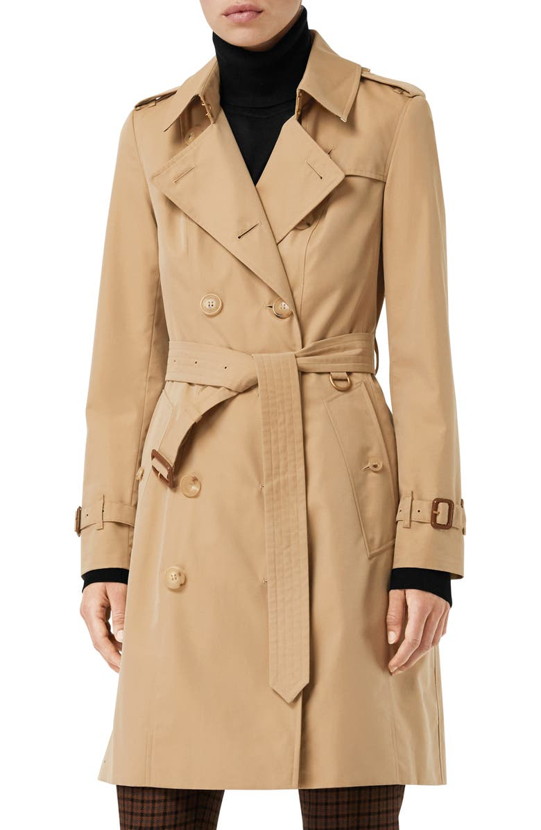 BURBERRY The Chelsea Slim Fit Heritage Trench Coat, Main, color, DARK HONEY