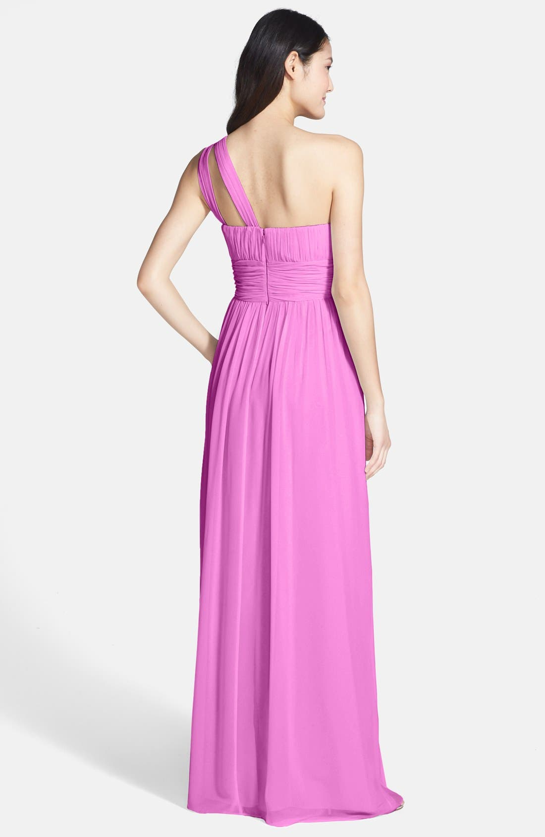 ,                             'Rachel' Ruched One-Shoulder Chiffon Gown,                             Alternate thumbnail 96, color,                             599