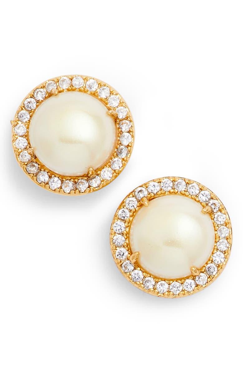 KATE SPADE NEW YORK bright ideas pavé halo stud earrings, Main, color, 711