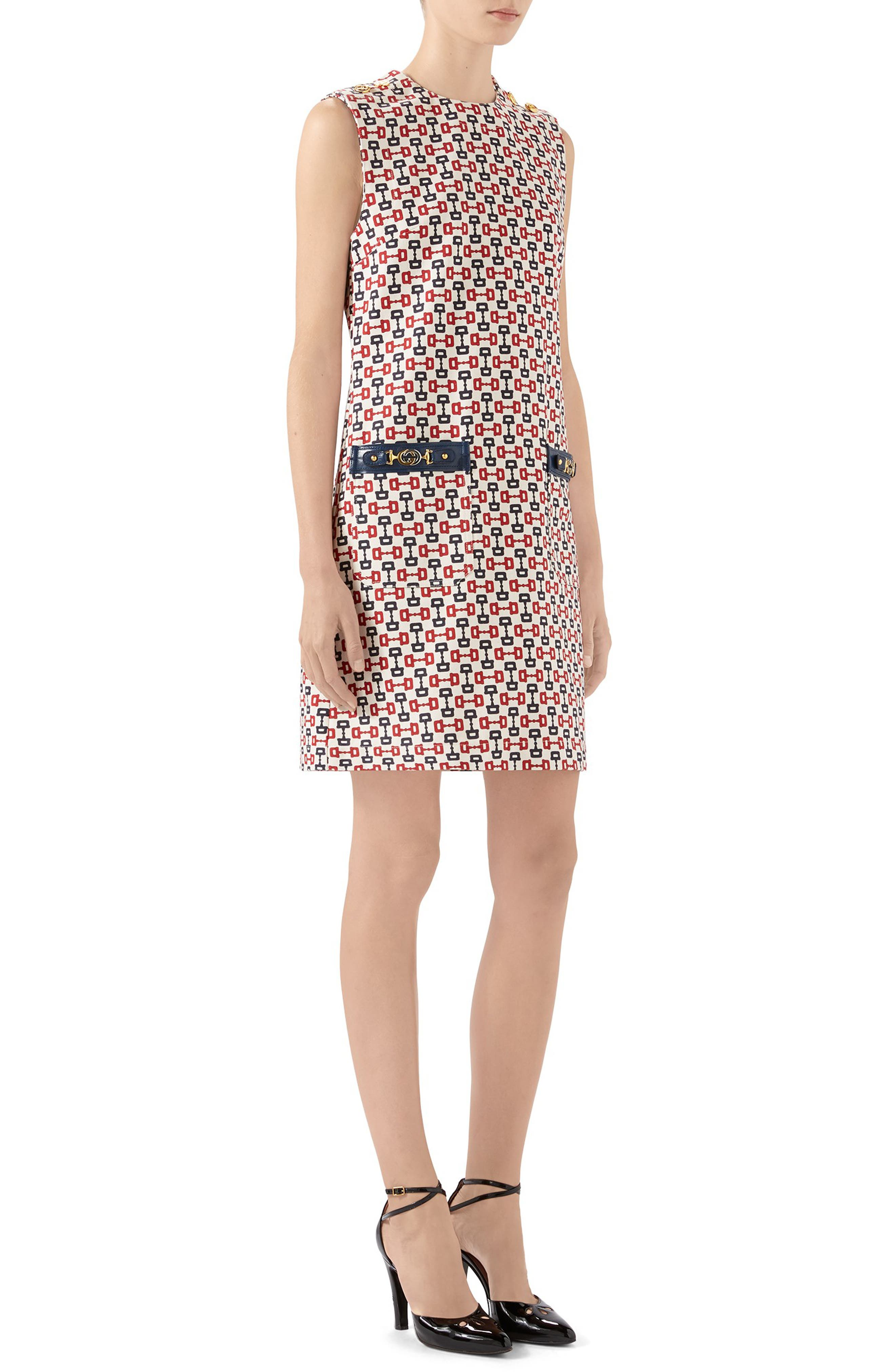 Gucci Dress Horsebit Print Cotton Canvas Shift Dress