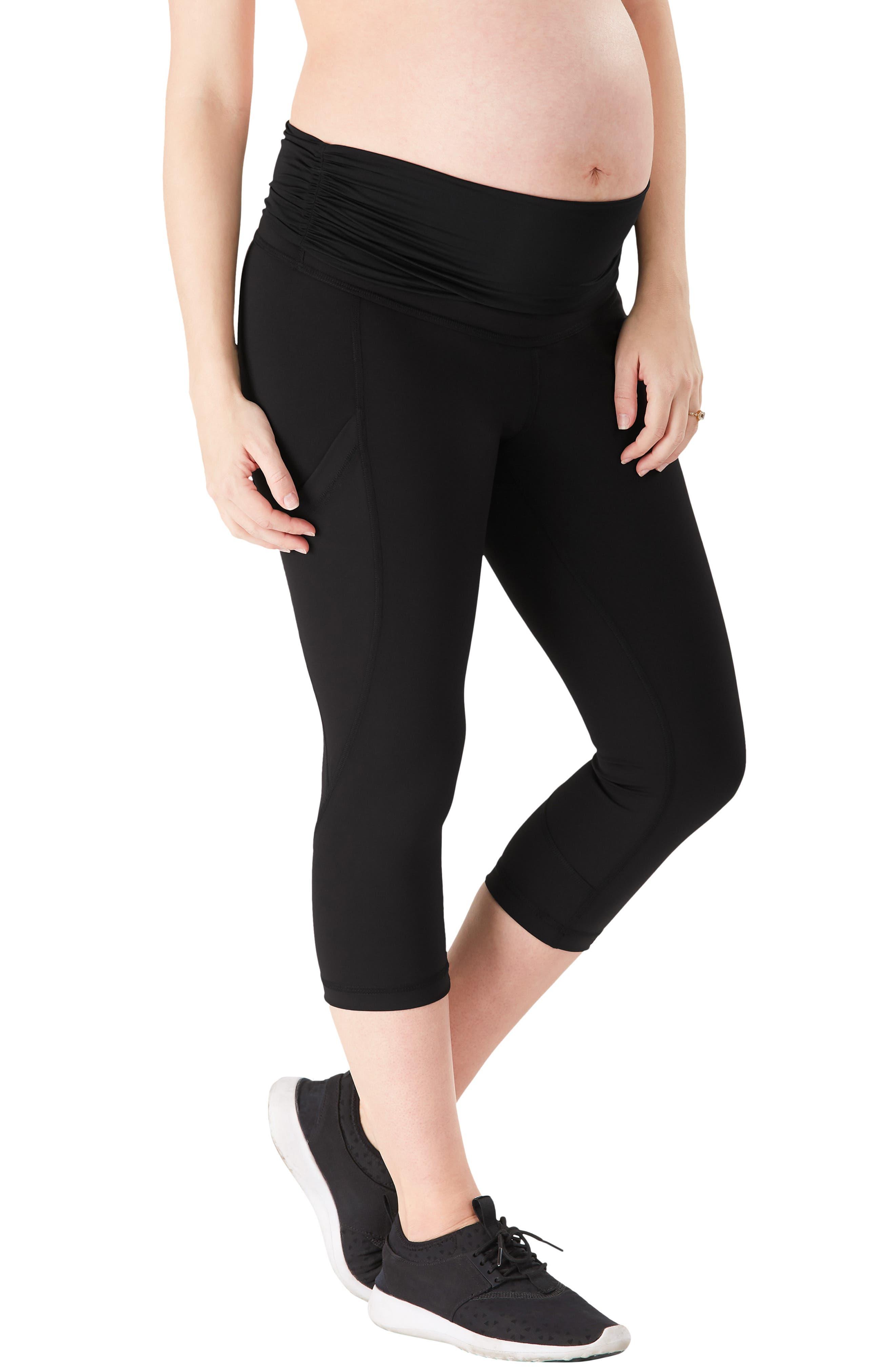 ,                             ActiveSupport<sup>®</sup> Power Capri Maternity Leggings,                             Alternate thumbnail 3, color,                             BLACK