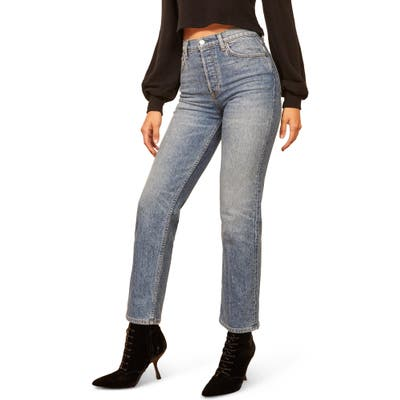 Reformation Juliet High Waist Relaxed Fit Button Fly Straight Leg Jeans, 7 - Blue