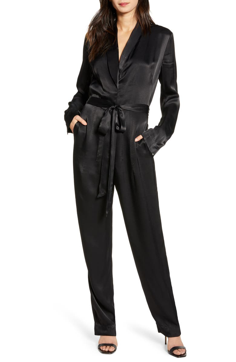 7 FOR ALL MANKIND<SUP>®</SUP> Shawl Collar Satin Jumpsuit, Main, color, JET BLACK