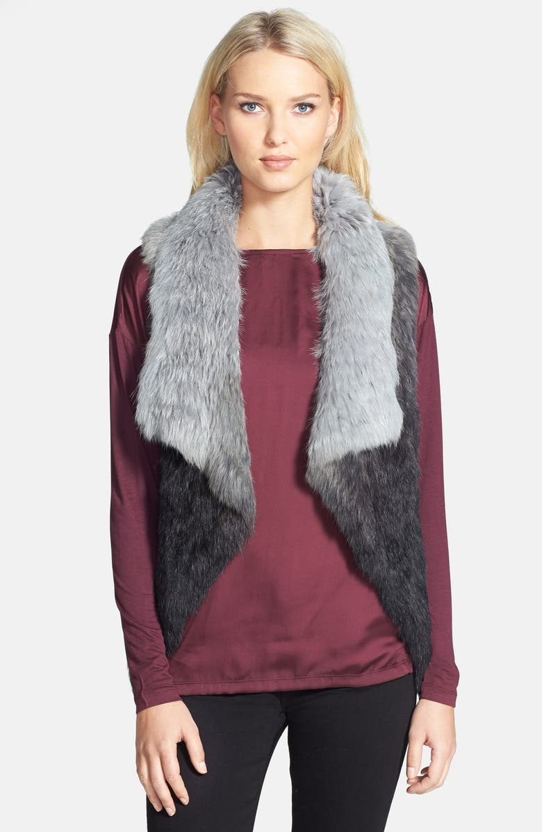 LOVE TOKEN Ombré Asymmetric Genuine Rabbit Fur Vest, Main, color, 060