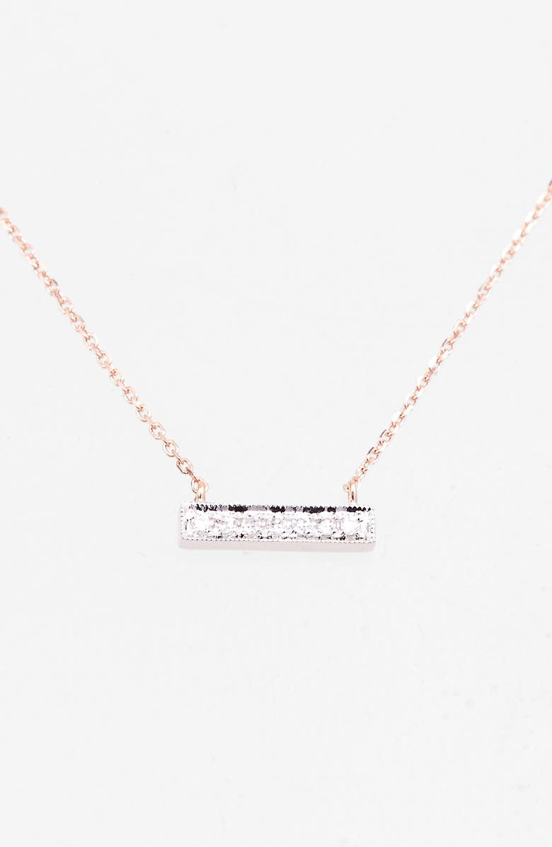 DANA REBECCA DESIGNS 'Sylvie Rose' Diamond Bar Pendant Necklace, Main, color, ROSE GOLD