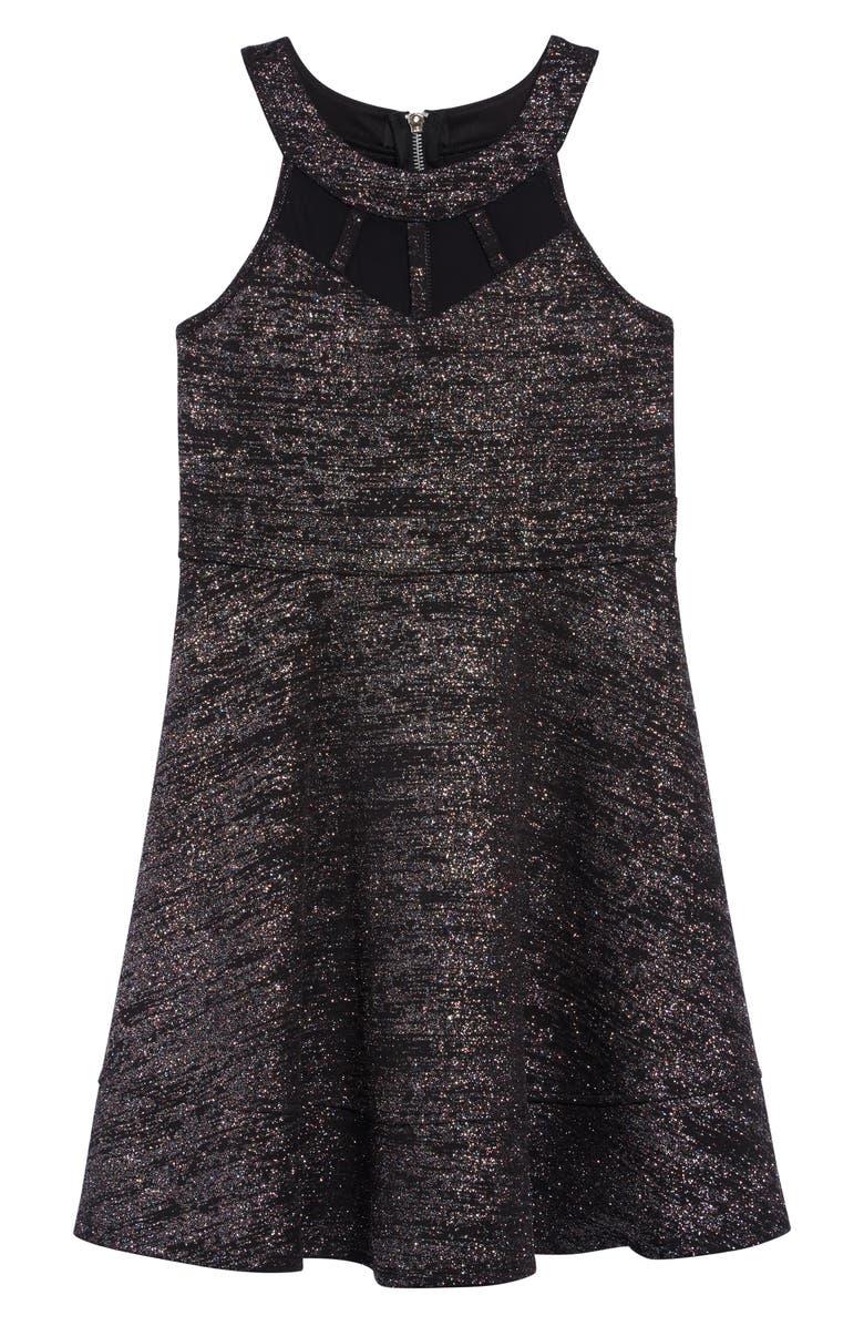 LOVE, NICKIE LEW Multicolor Glitter Illusion Dress, Main, color, 003-BLK/MUTLI