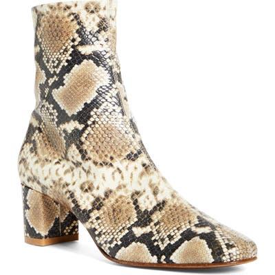 By Far Sofia Snake Embossed Bootie, Brown